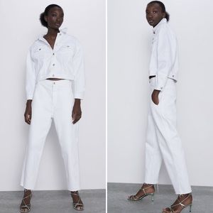 NWOT Zara White Cropped High Rise Jeans (4)